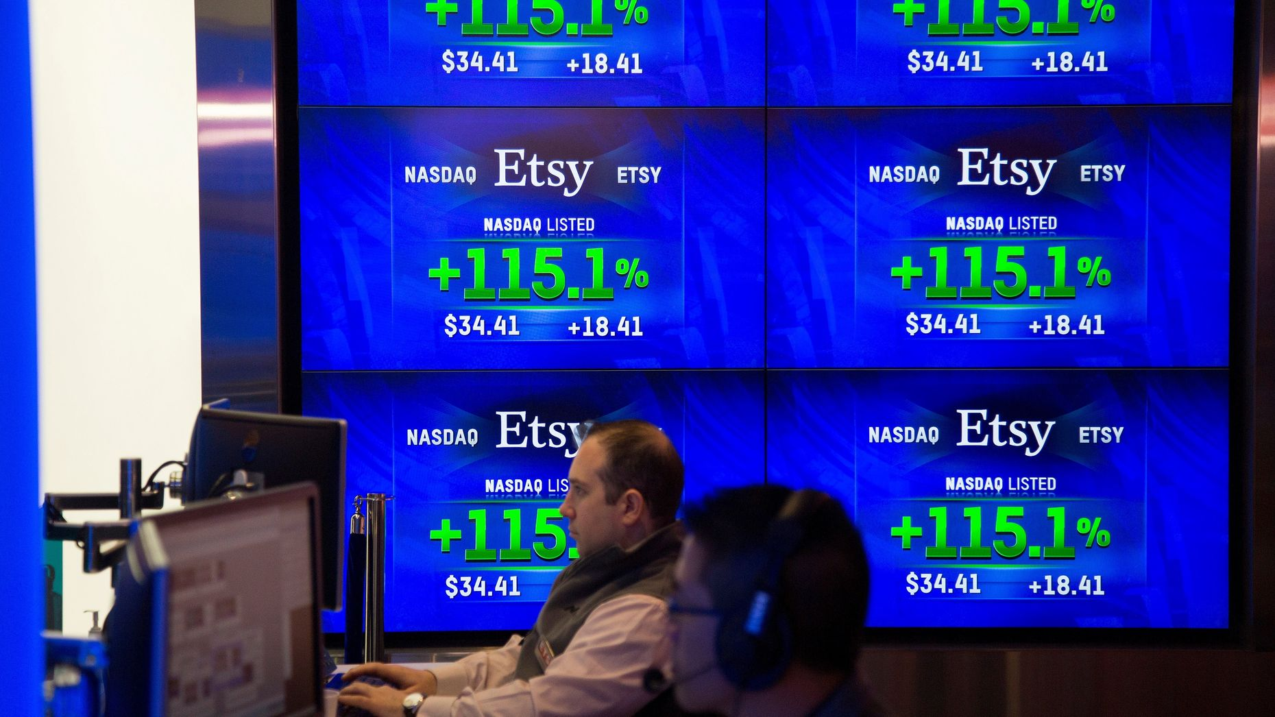 Stock screen showing Etsy's trading price on the day it went public. Photo by Bloomberg.