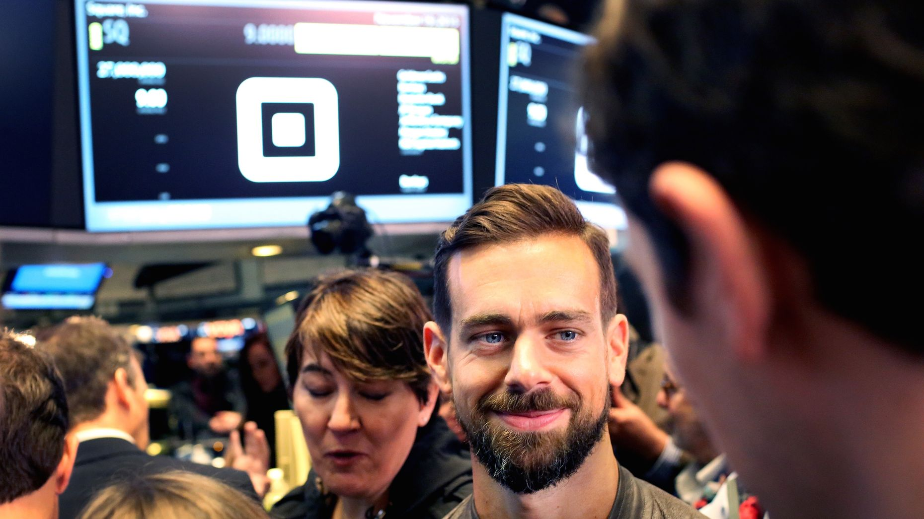 Square CEO  Jack Dorsey at the New York Stock Exchange for Square's opening day on the stockmarket. Photo by Bloomberg.