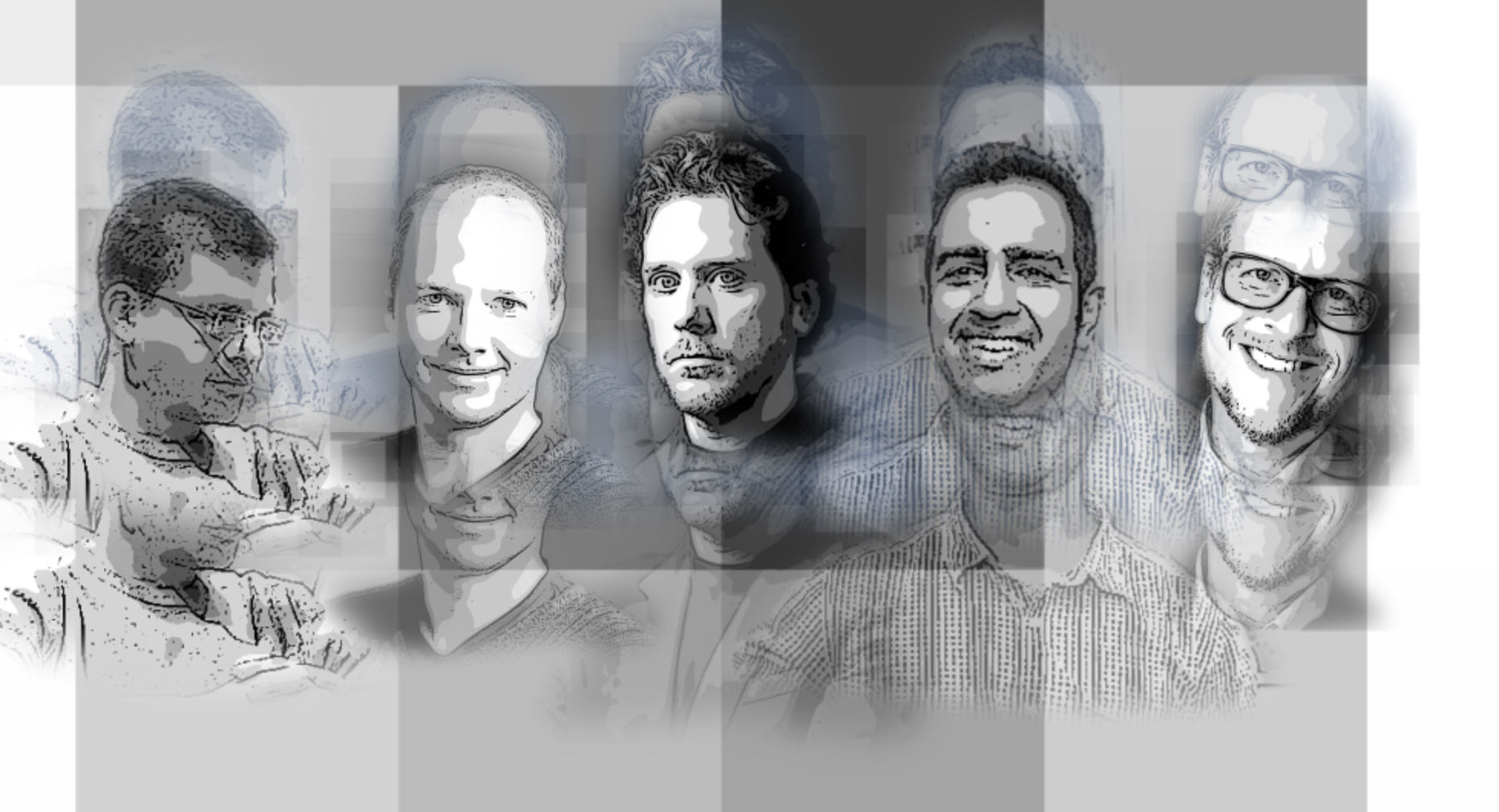 Max Levchin, Sebastian Thrun, Howard Lerman, Amol Sarva and Tony Conrad. Art: Matt Vascellaro
