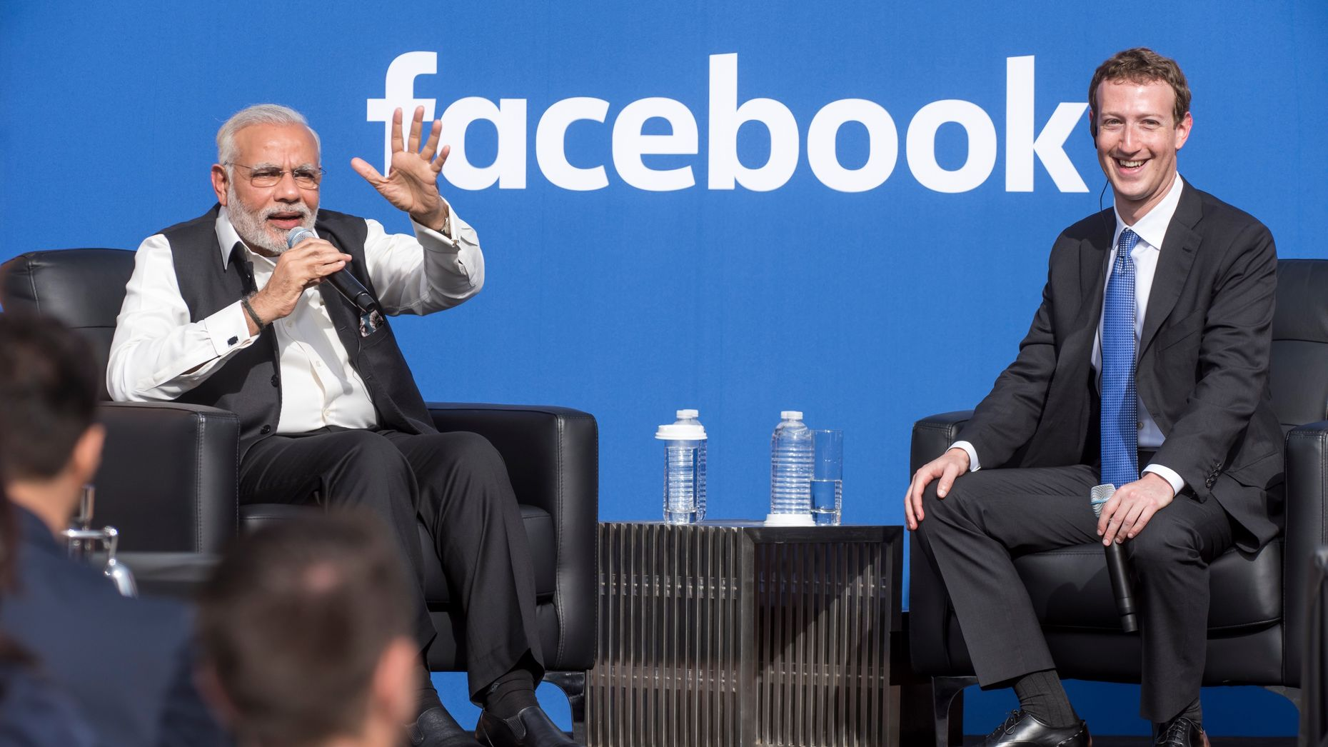Indian Prime Minister Narendra Modi, left, with Mark Zuckerberg. Photo by Bloomberg.