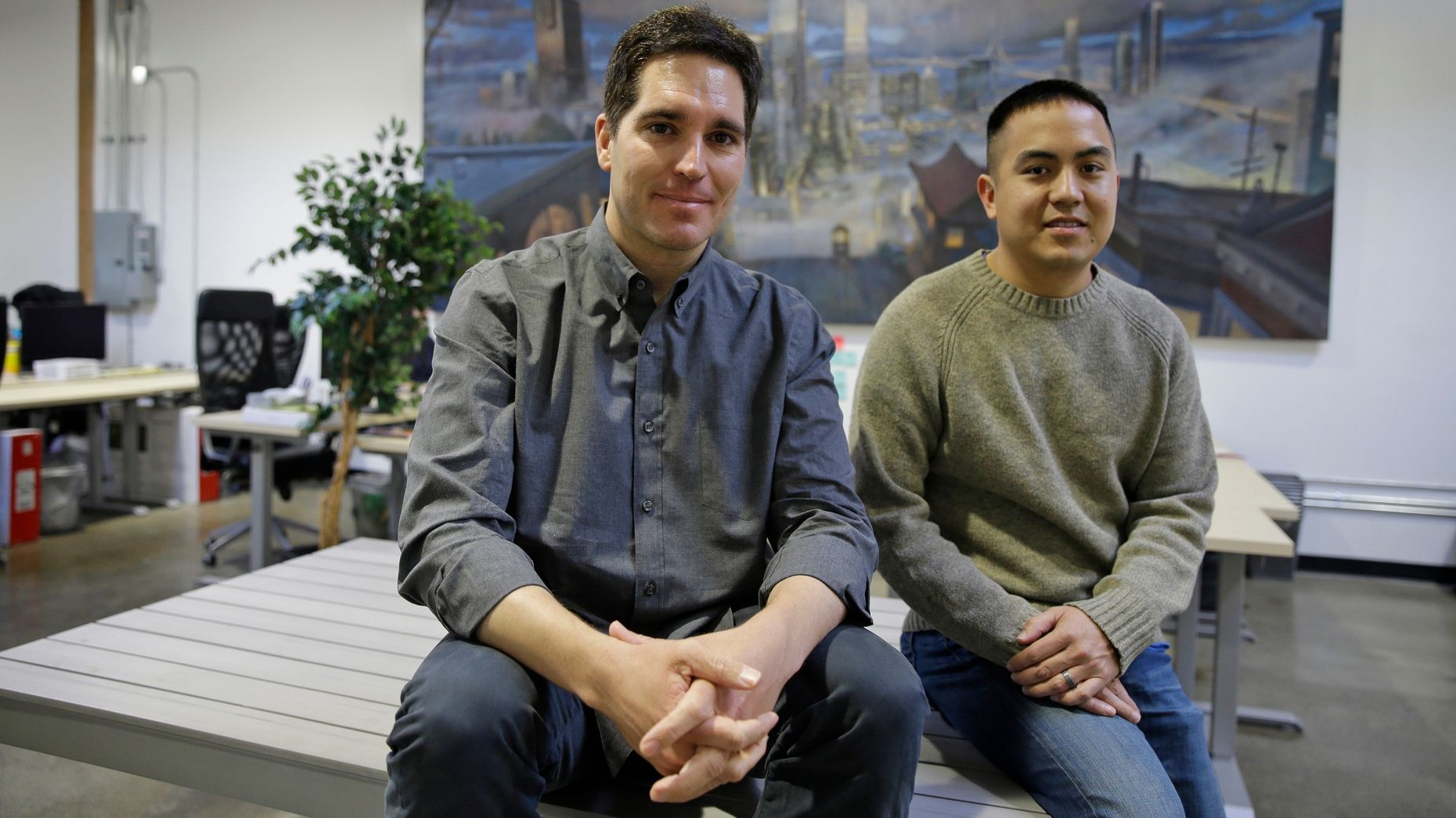 Jason Kilar, left, and his Vessel co-founder Richard Tom. Photo by AP.