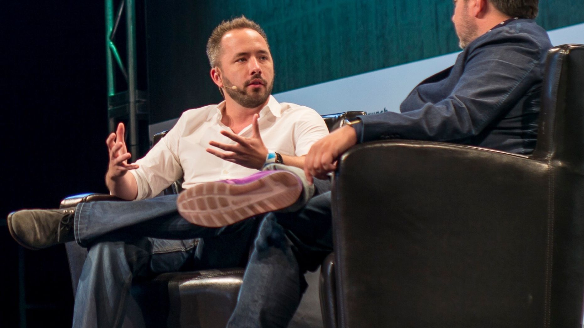 Dropbox CEO Drew  Houston, left. Photo by Bloomberg.