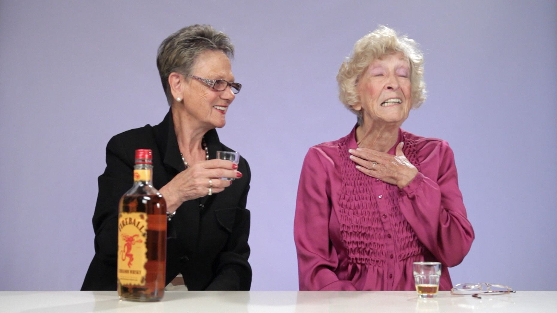 "An image from Obsev's video ""Watch These Adorable Grandmas Try Fireball Whiskey for the First Time."" Photo by Obsev."