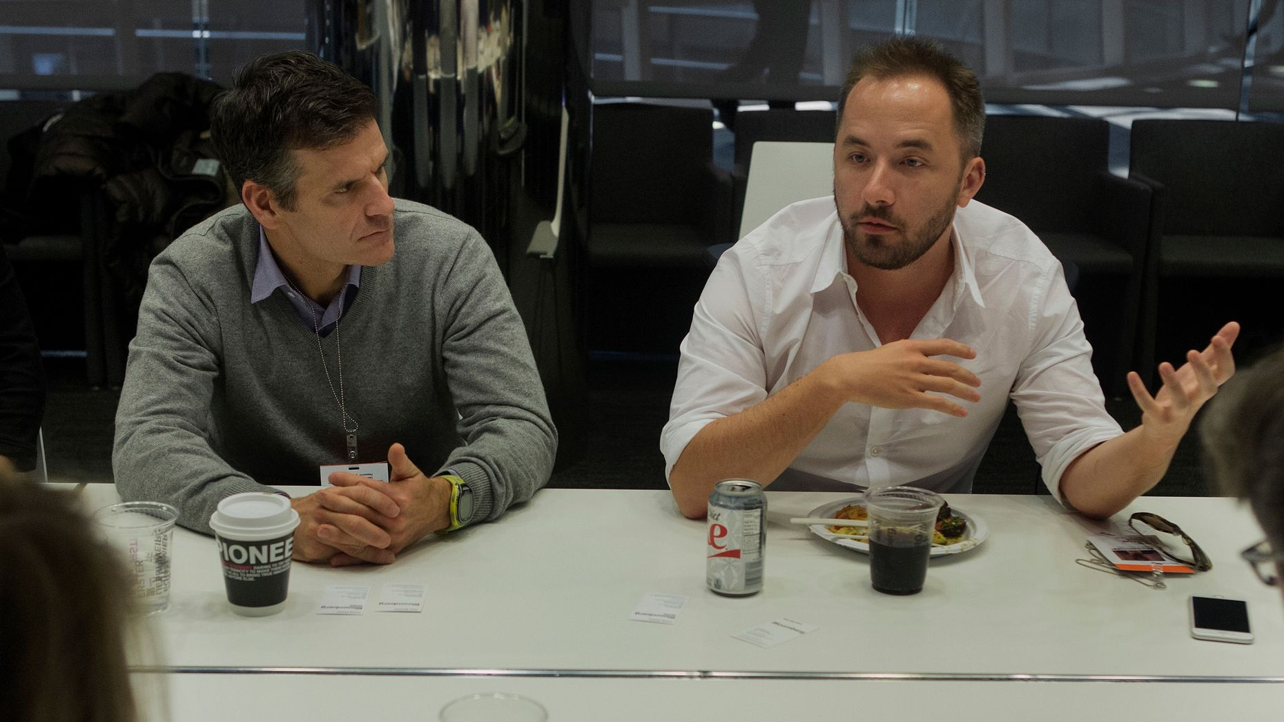 Dropbox's COO Dennis Woodside, left, and CEO Drew Houston. Photo by Bloomberg.