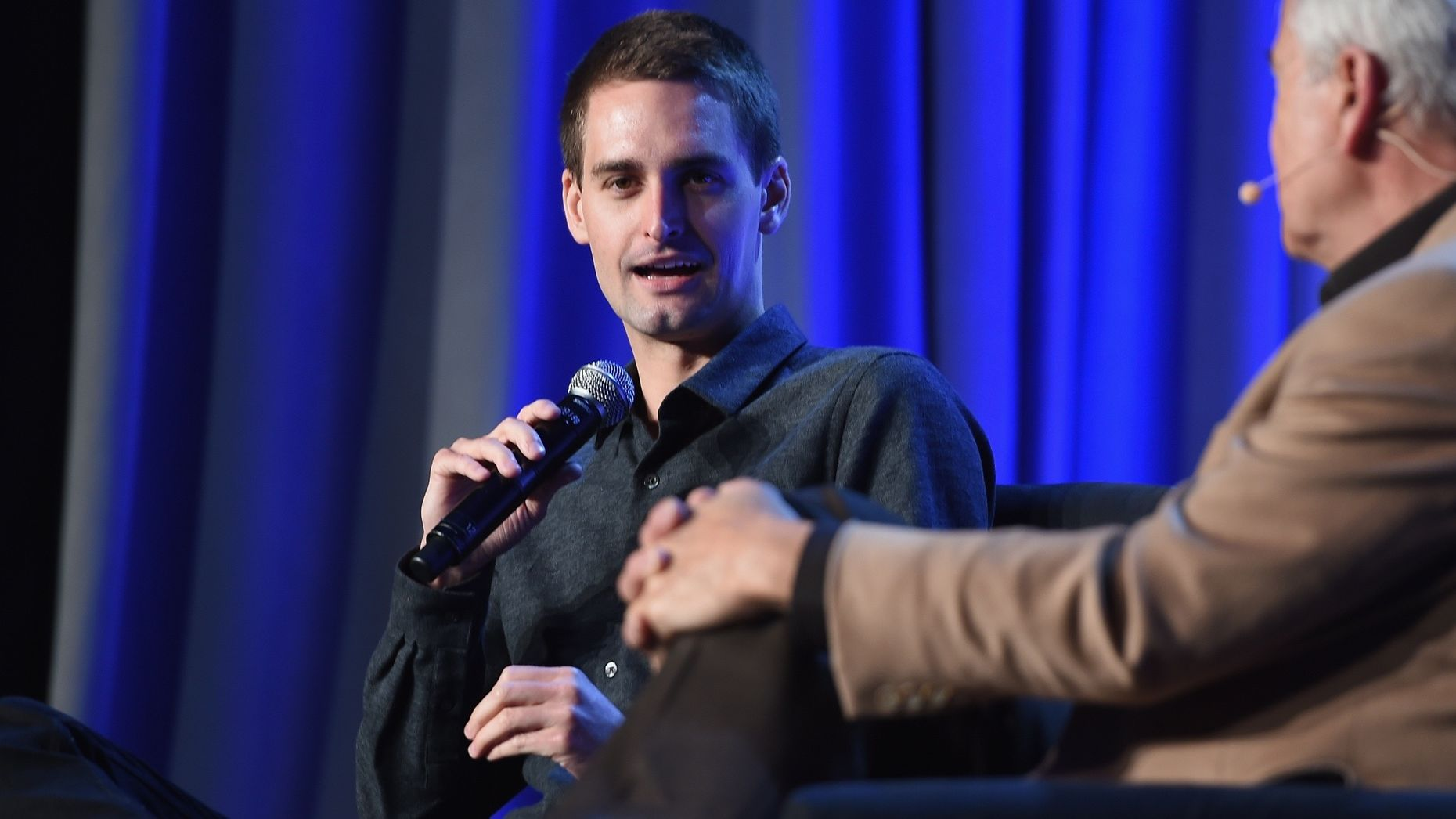 Evan Spiegel, left. Photo by Larry Busacca/Getty Images.