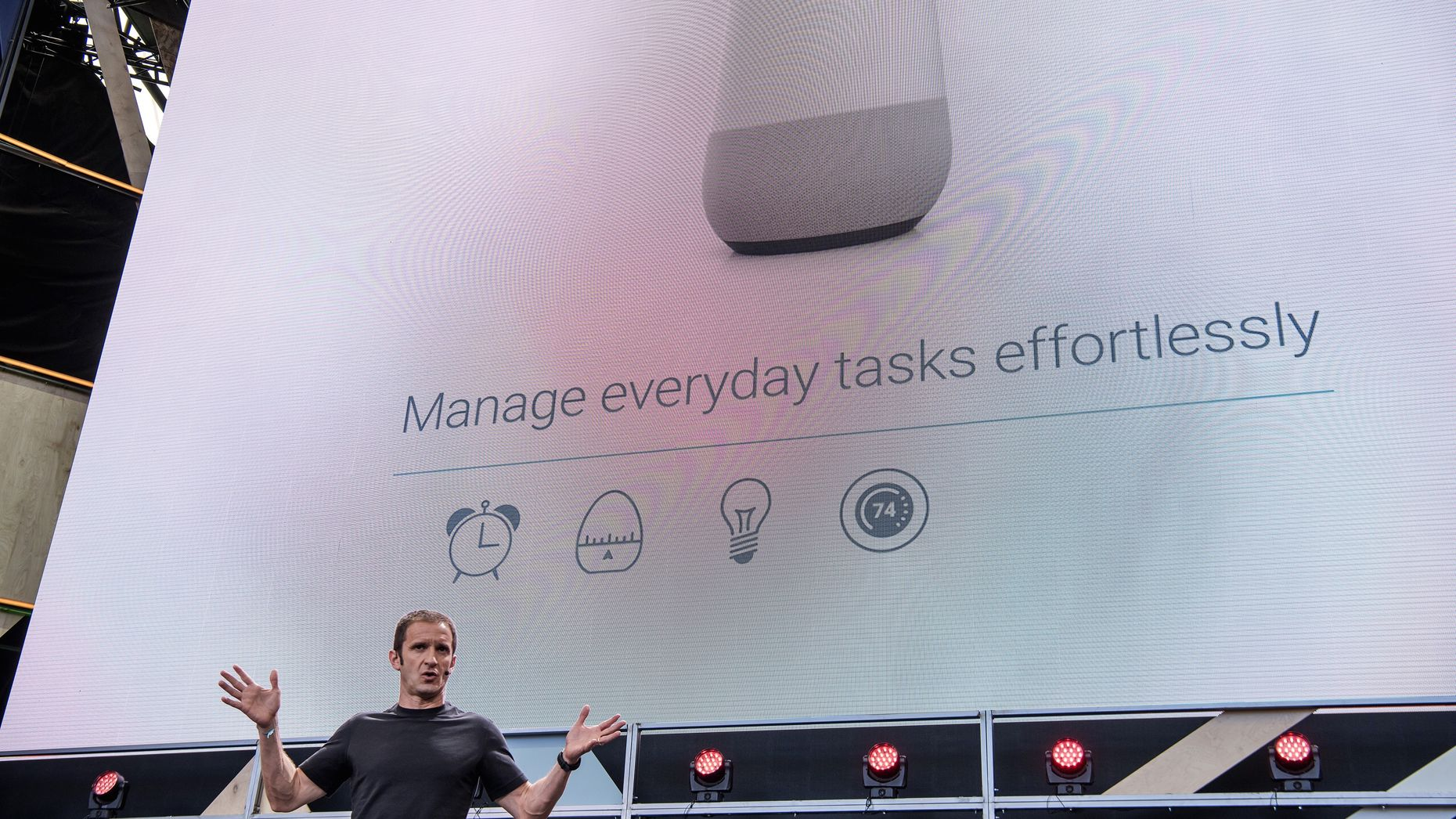 Google's Vice President of Product Management, Mario Queiroz, talking about Google Home at Google I/O this month. Photo by Bloomberg.