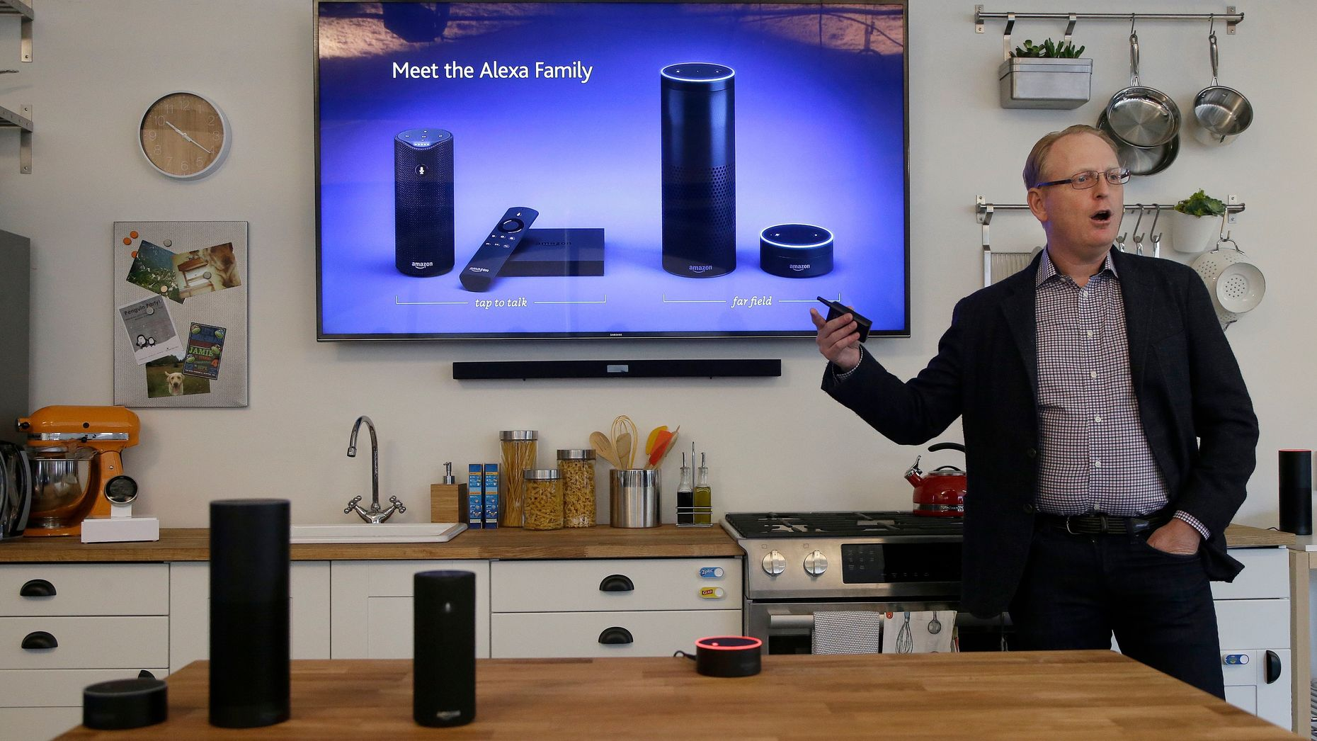 David Limp, Amazon's Senior Vice President of Devices, showing off the Echo earlier this year. Photo by AP.