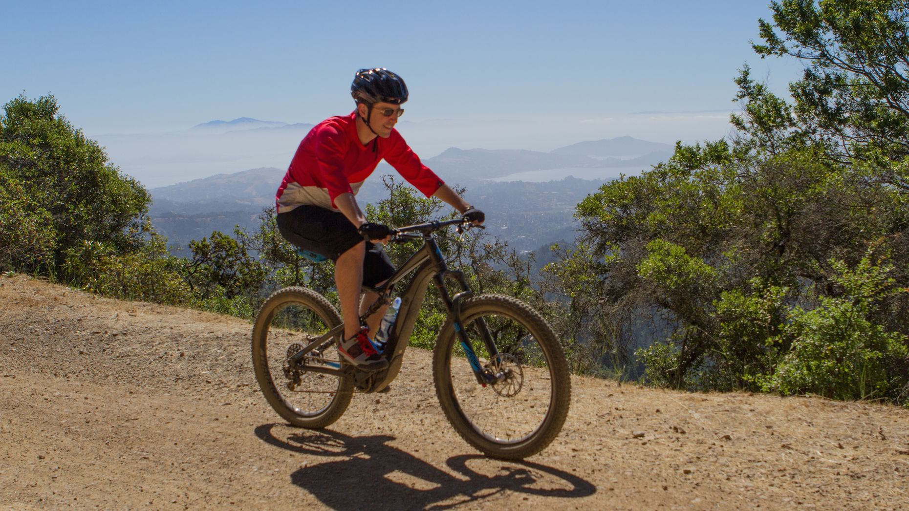 Venture capitalist Dave Morin on his e-mountain bike. Photo by Reed Albergotti.