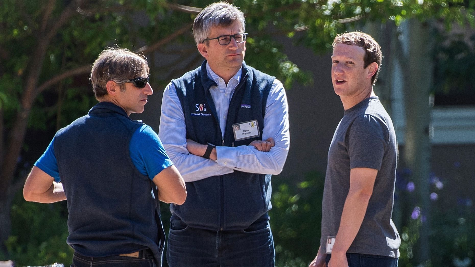 Zynga CEO Mark Pincus, Facebook CFO David Wehner and Facebook CEO at Mark Zuckerberg at Sun Valley this week. Photo by Bloomberg.