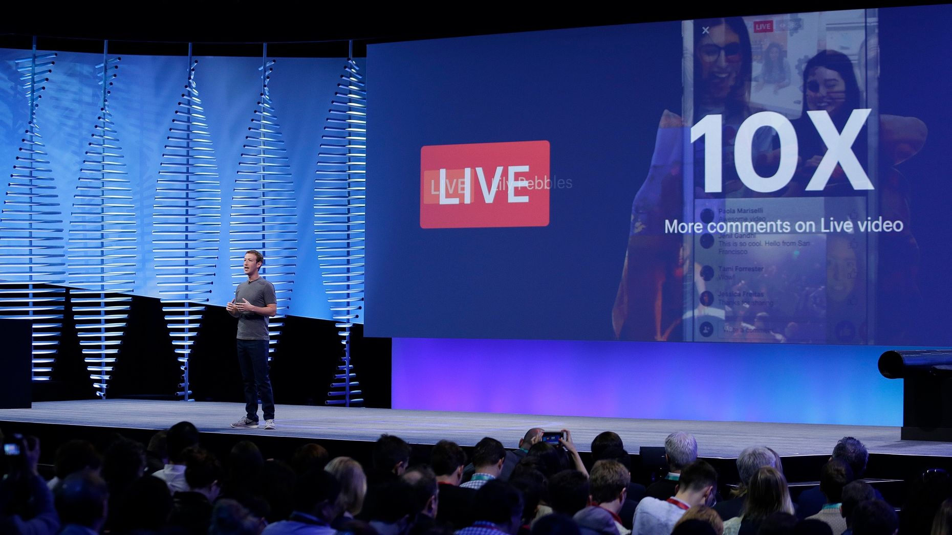 Facebook CEO Mark Zuckerberg talking about Facebook's plans for live video at its F8 developer conference in April. Photo by AP.