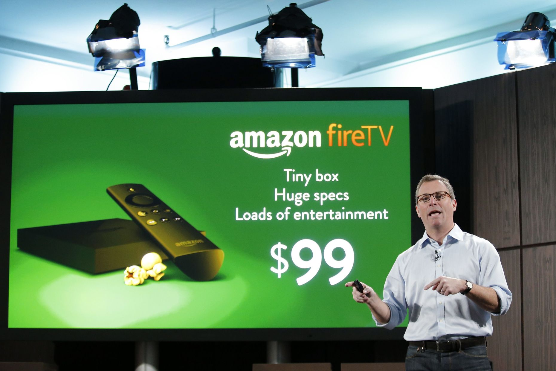 Peter Larsen of Amazon shows the new Amazon Fire TV. Photo by Reuters/ Eduardo Munoz.