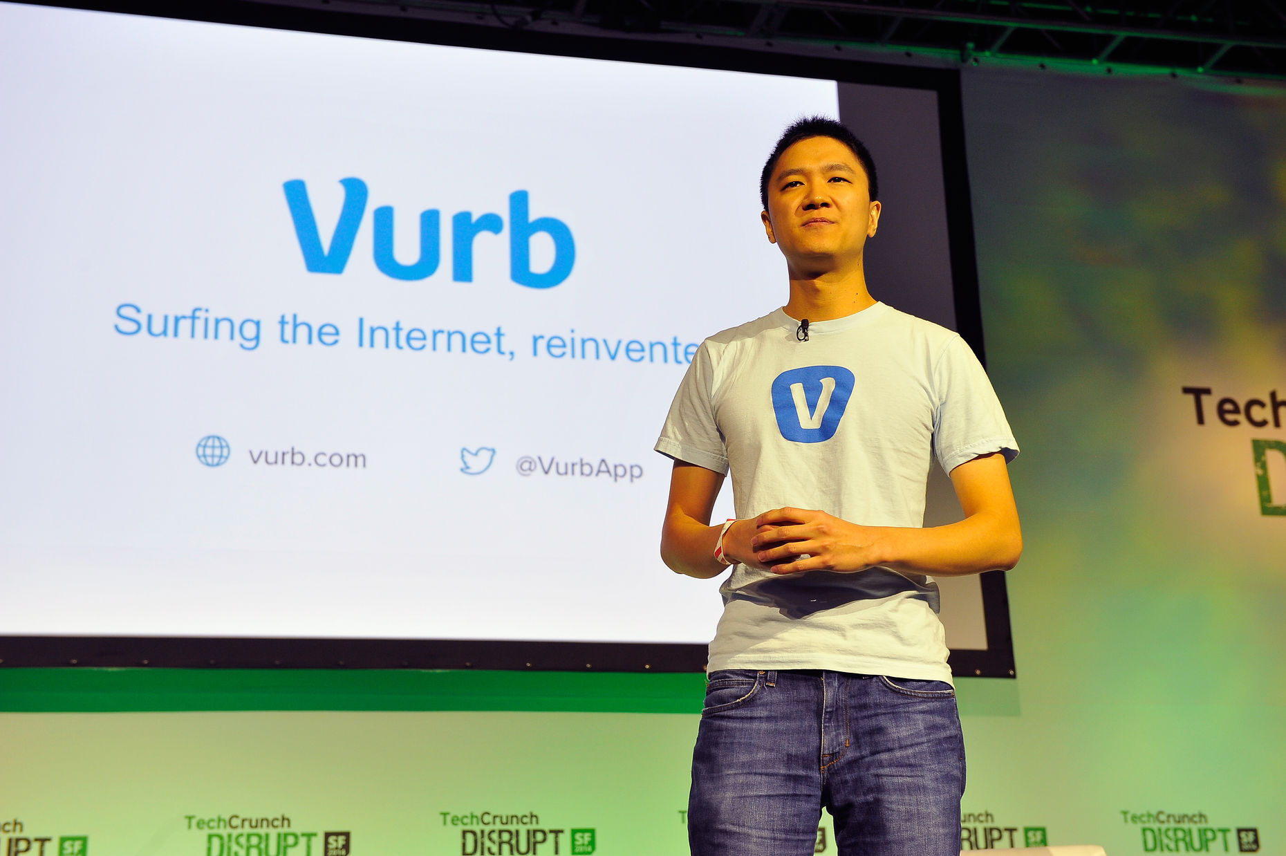 Vurb founder Bobby Lo at TechCrunch Disrupt. Photo by TechCrunch.