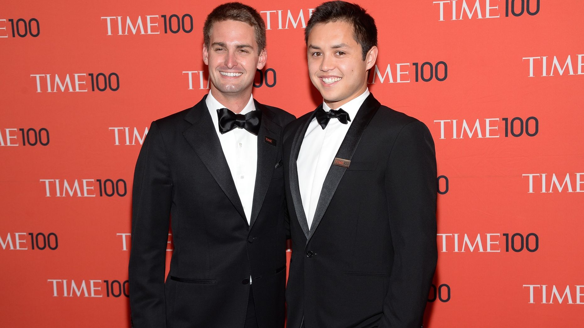 Snapchat CEO and co-founder Evan Spiegel, left, with co-founder and CTO Bobby Murphy. Photo by AP.