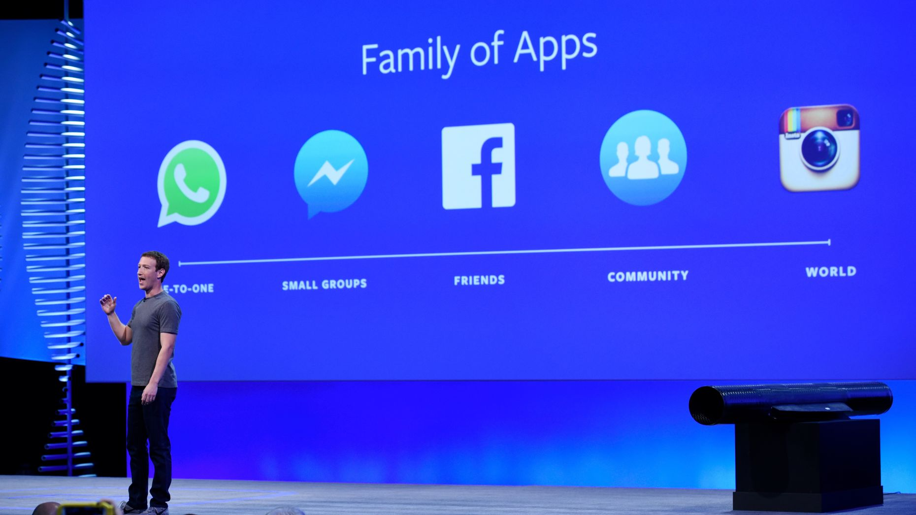 Facebook CEO Mark Zuckerberg at this year's F8 developer conference. Photo by Bloomberg.