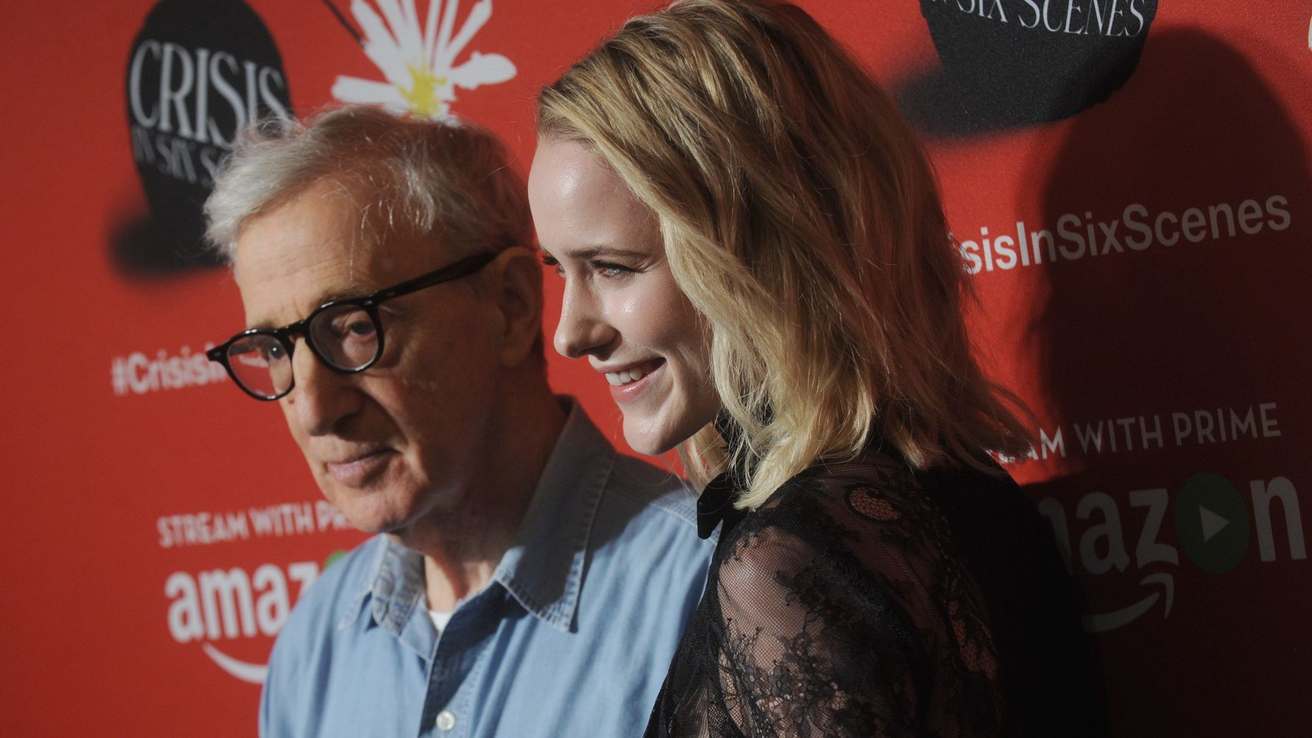 "Woody Allen and Rachel Brosnahan at the New York premiere of ""Crisis in Six Scenes"" for Amazon Video. Photo by AP."