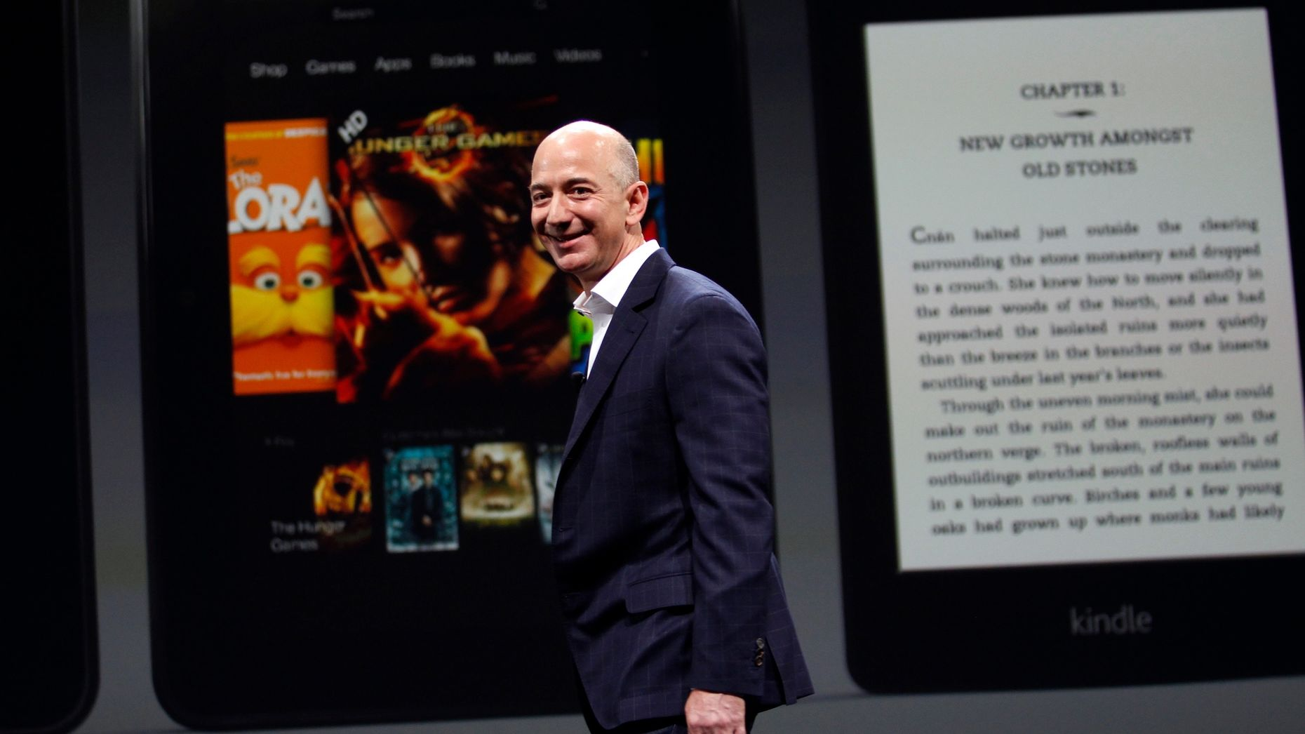 Amazon CEO Jeff Bezos unveiling the Kindle Fire tablet and a new Kindle e-reader in 2012. Photo by Bloomberg.
