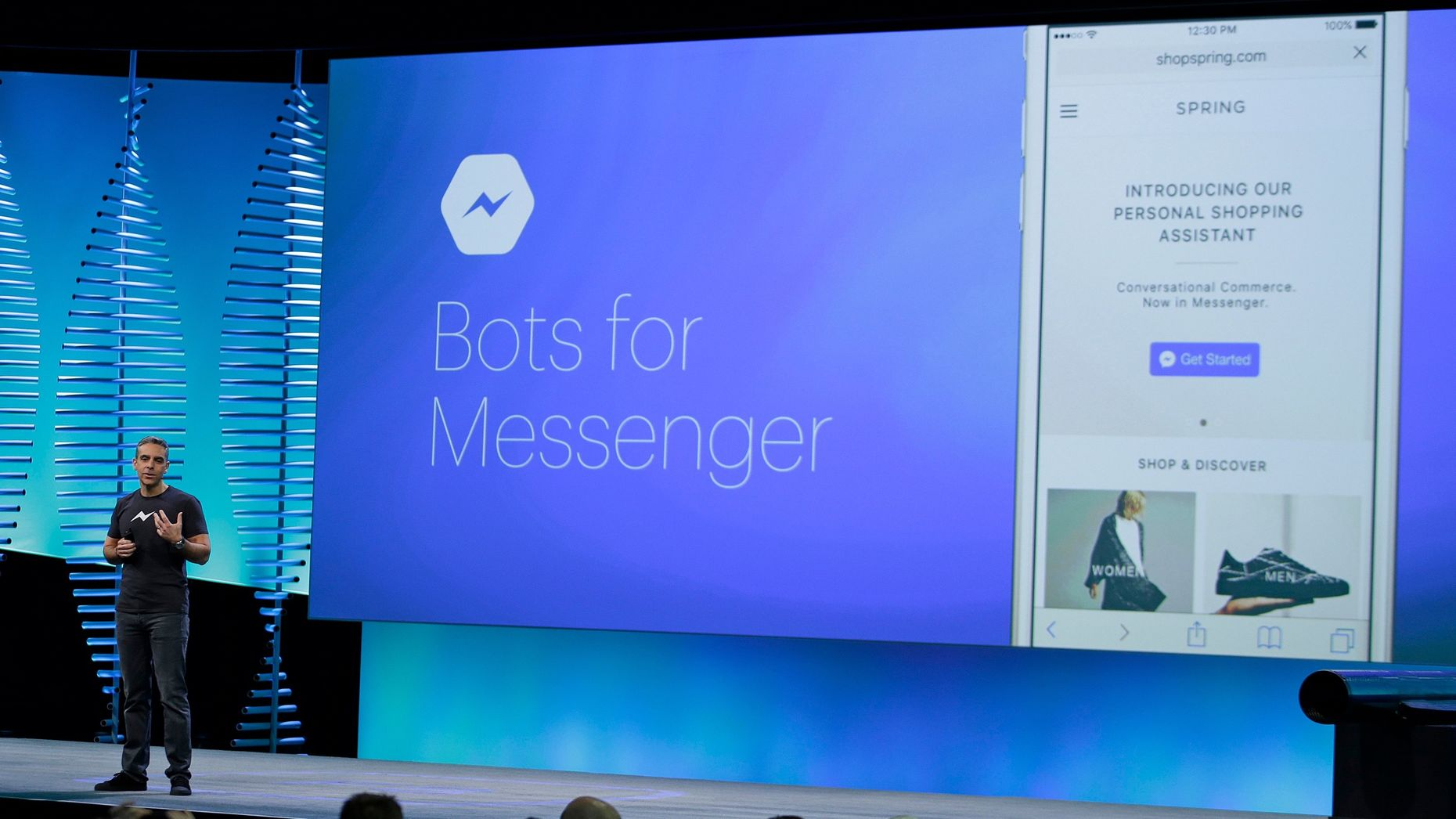 Messenger chief David Marcus at F8 in April. Photo by AP.