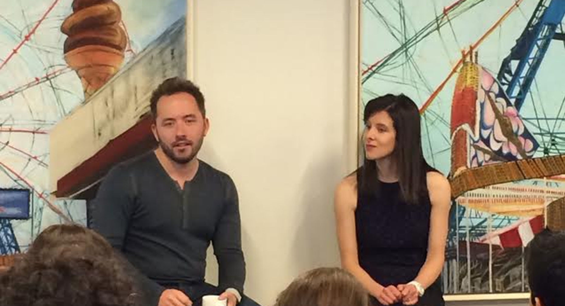 Drew Houston and Jessica Lessin at The Information's event in N.Y. Photo by Katie Benner.