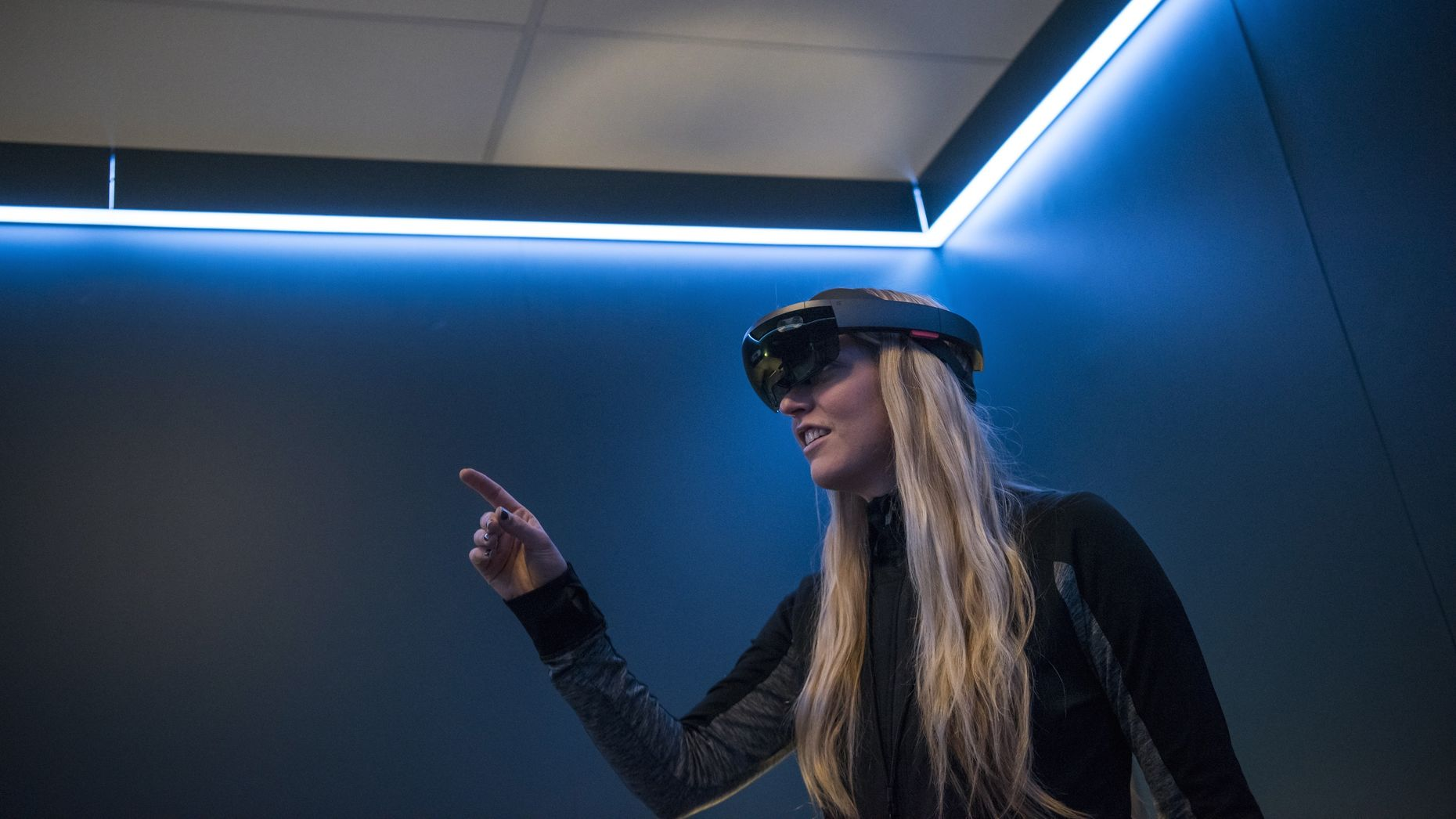 A Microsoft employee demonstrating the HoloLens at a developer conference in March. Photo by Bloomberg.