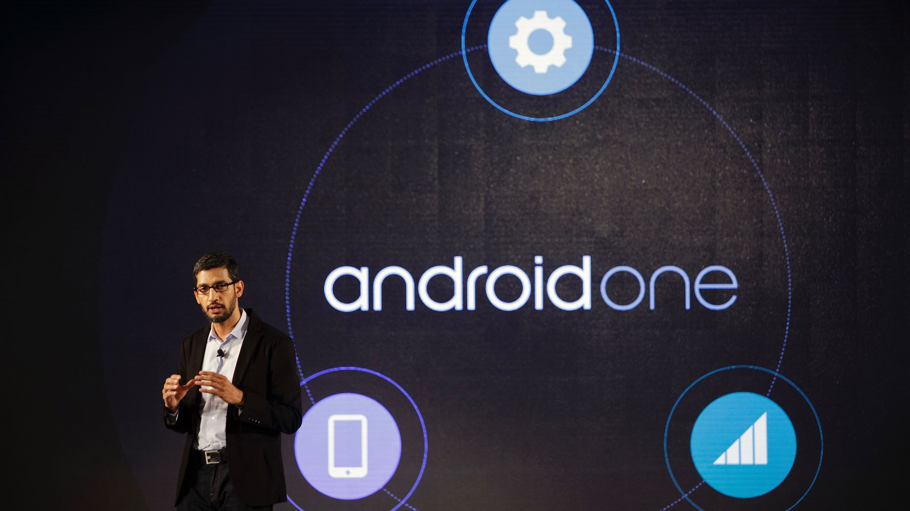 Google CEO Sundar Pichai launching Android One in India in 2014. Photo by Bloomberg.