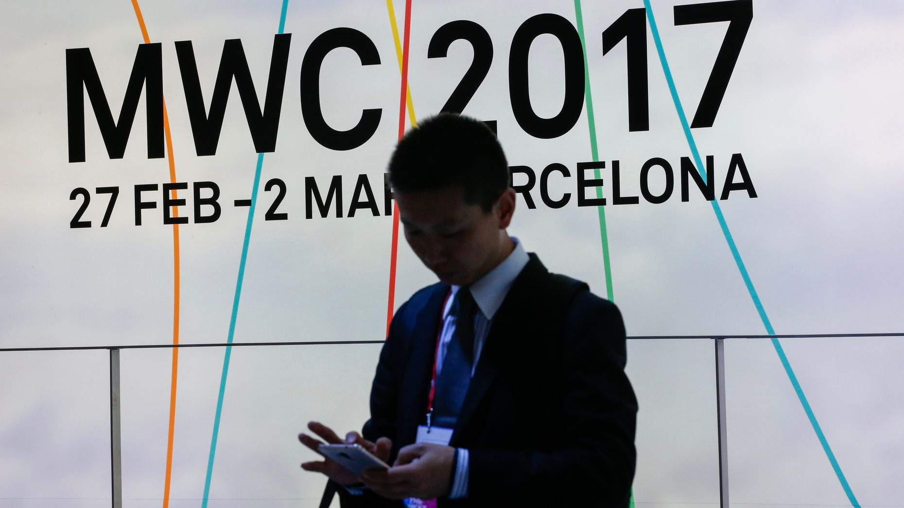 An attendee at this week's Mobile World Congress in Barcelona. Photo by Bloomberg.