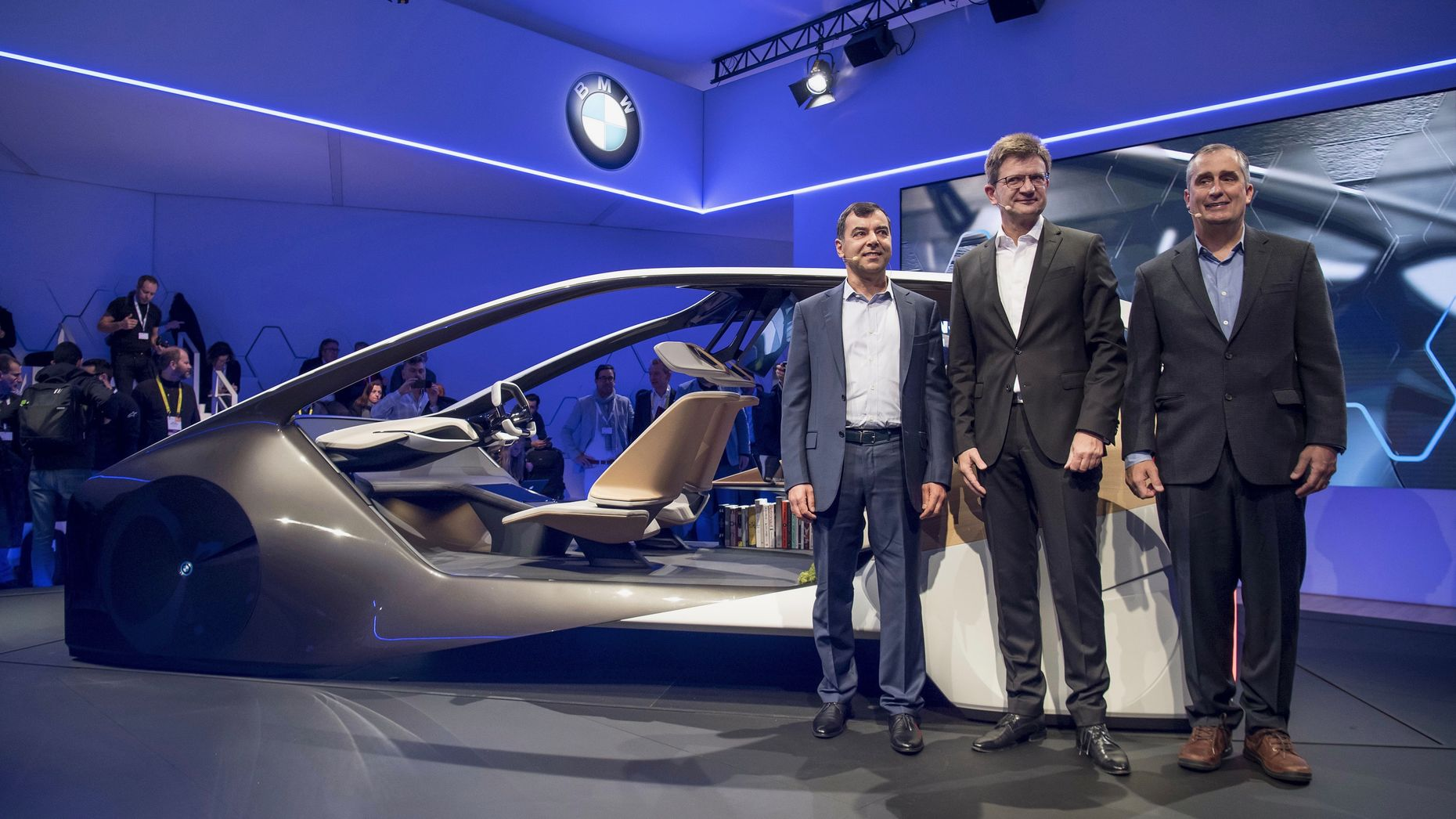 Mobileye chairman Amnon Shahua, BMW management board member Klaus Froehlich and Intel CEO Brian Krzanich at CES in January. Photo by Bloomberg