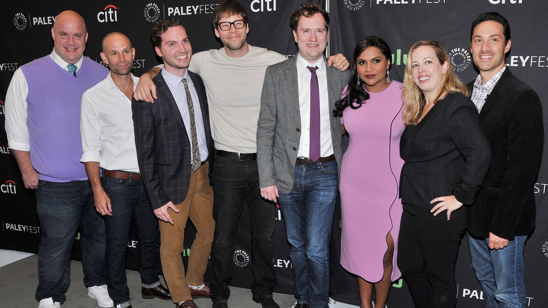 "Writers for ""The Mindy Project,"" now on Hulu, at an event last September. Photo by AP."