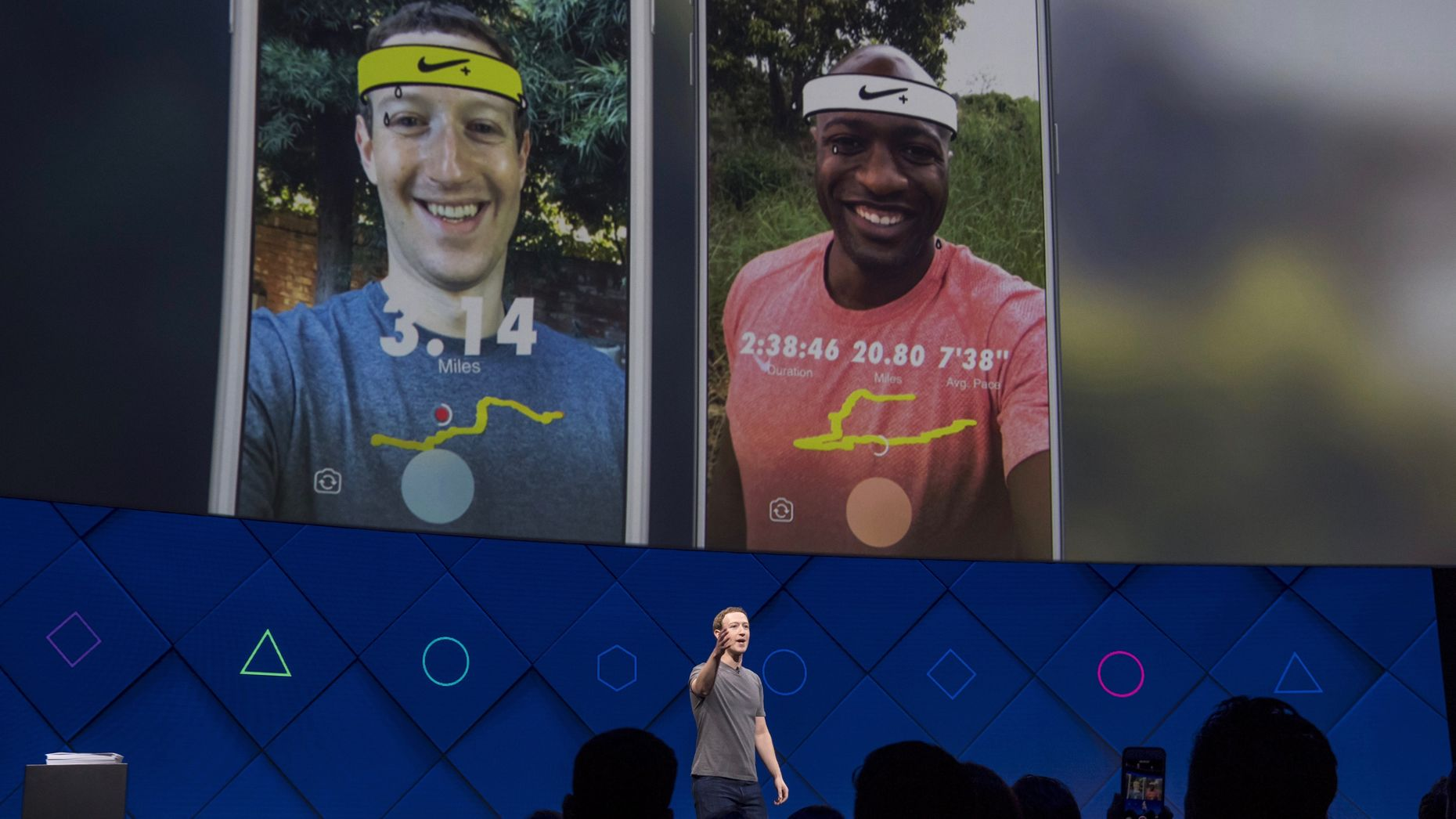 Facebook CEO Mark Zuckerberg showing off new Nike-branded camera effects at this week's F8. Photo by Bloomberg.