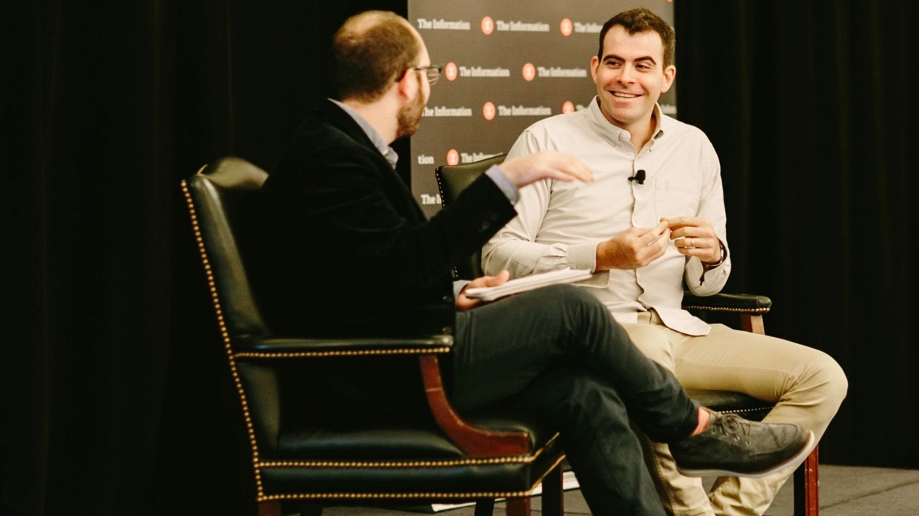 Facebook's VP of News Feed Adam Mosseri talking with The Information's Cory Weinberg on Tuesday. Photo by Karen Obrist