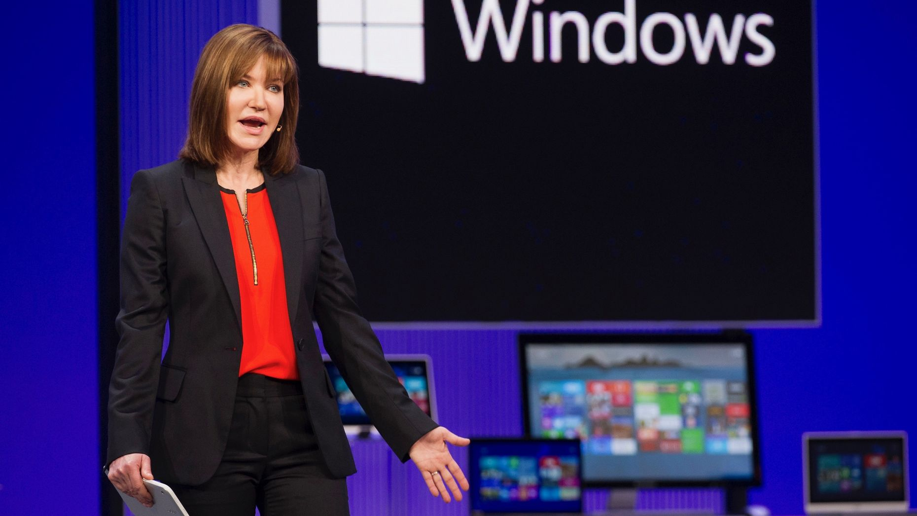 Microsoft executive Julie Larson-Green at a Microsoft developers conference in 2013. Photo by Bloomberg.