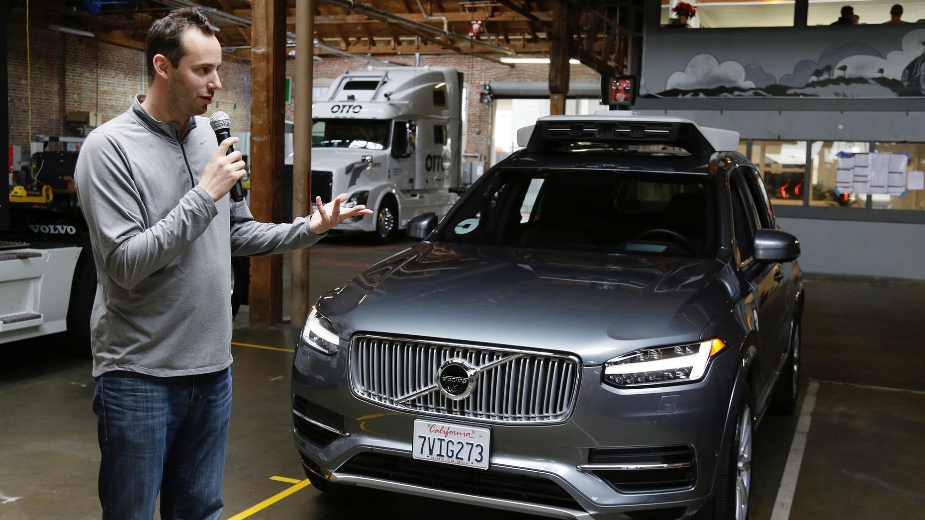 Anthony Levandowski discussing Uber's self-driving car effort last December. Photo by AP.
