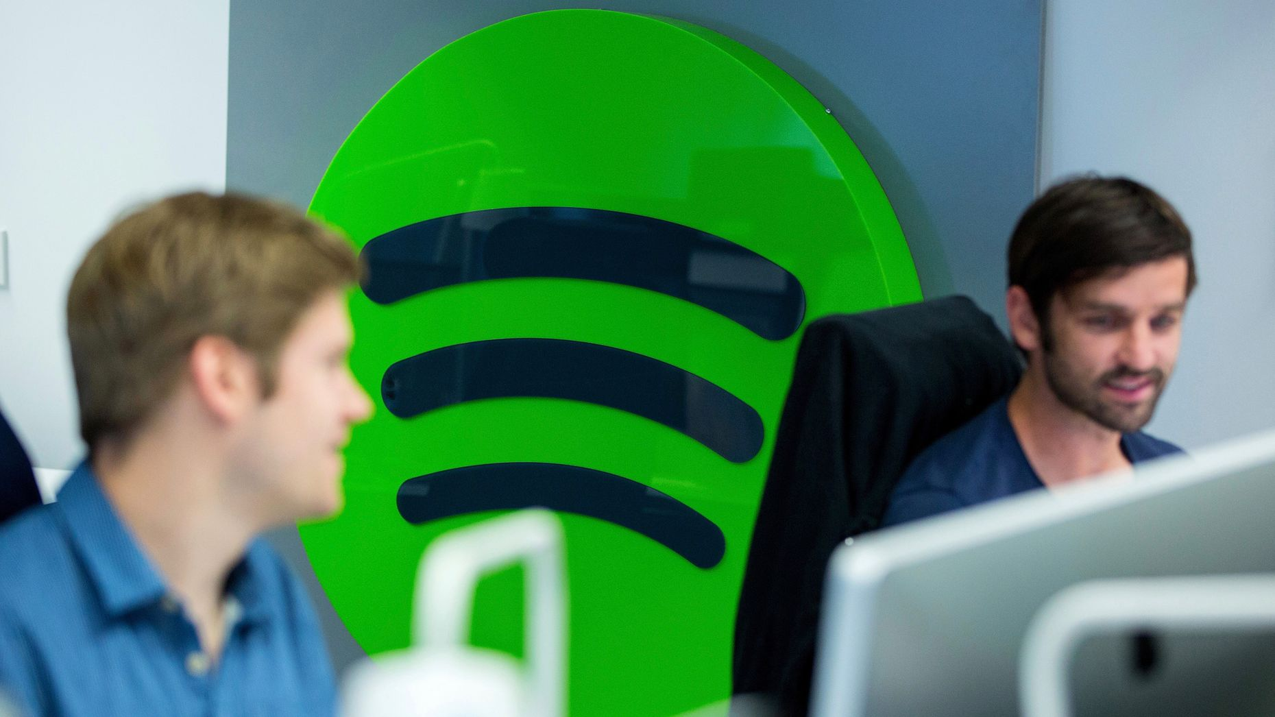 Employees work at Spotify's offices in Berlin. Photo: Bloomberg
