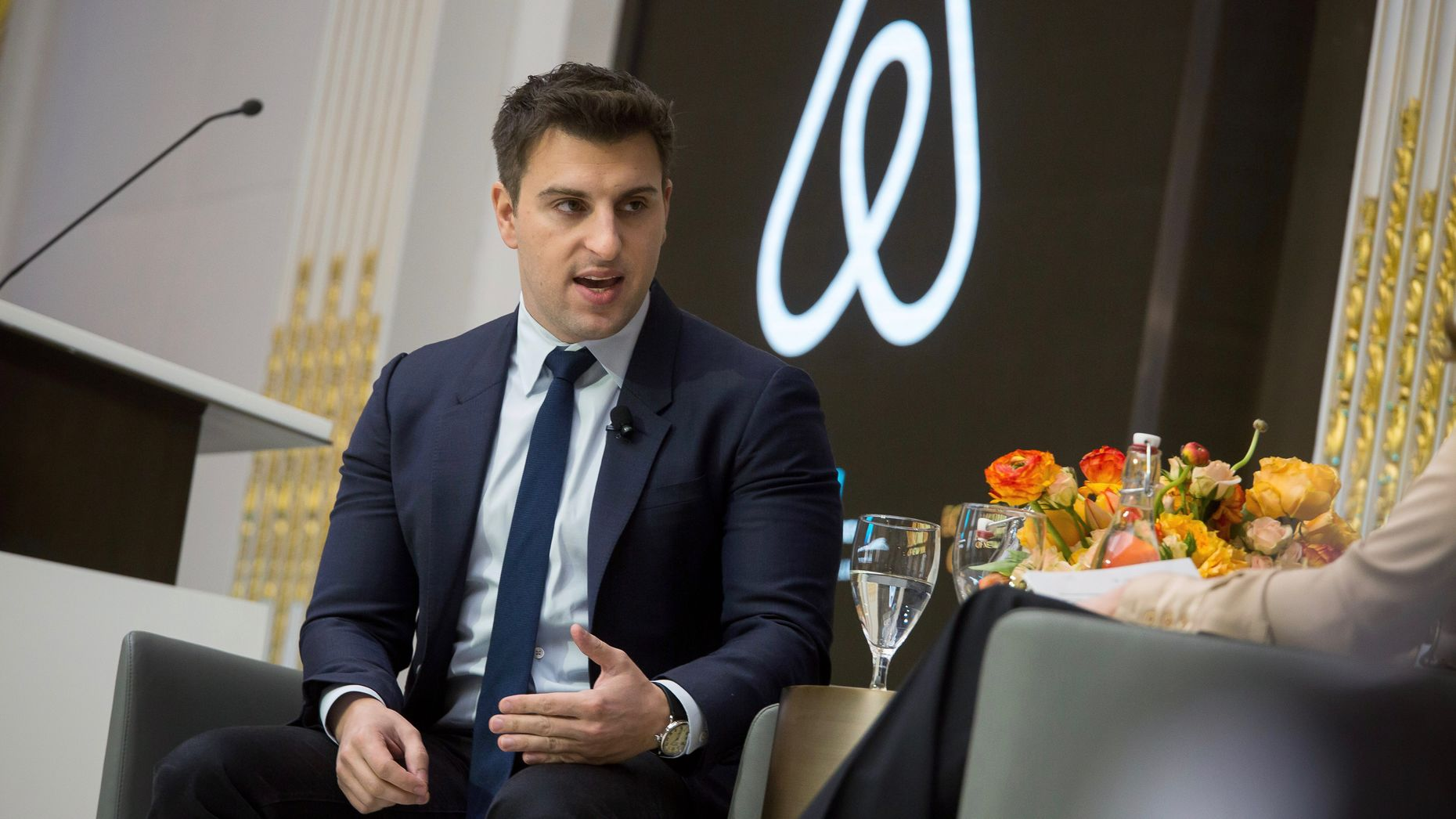 Airbnb CEO Brian Chesky at an Economic Club of New York luncheon in March. Photo by Bloomberg.