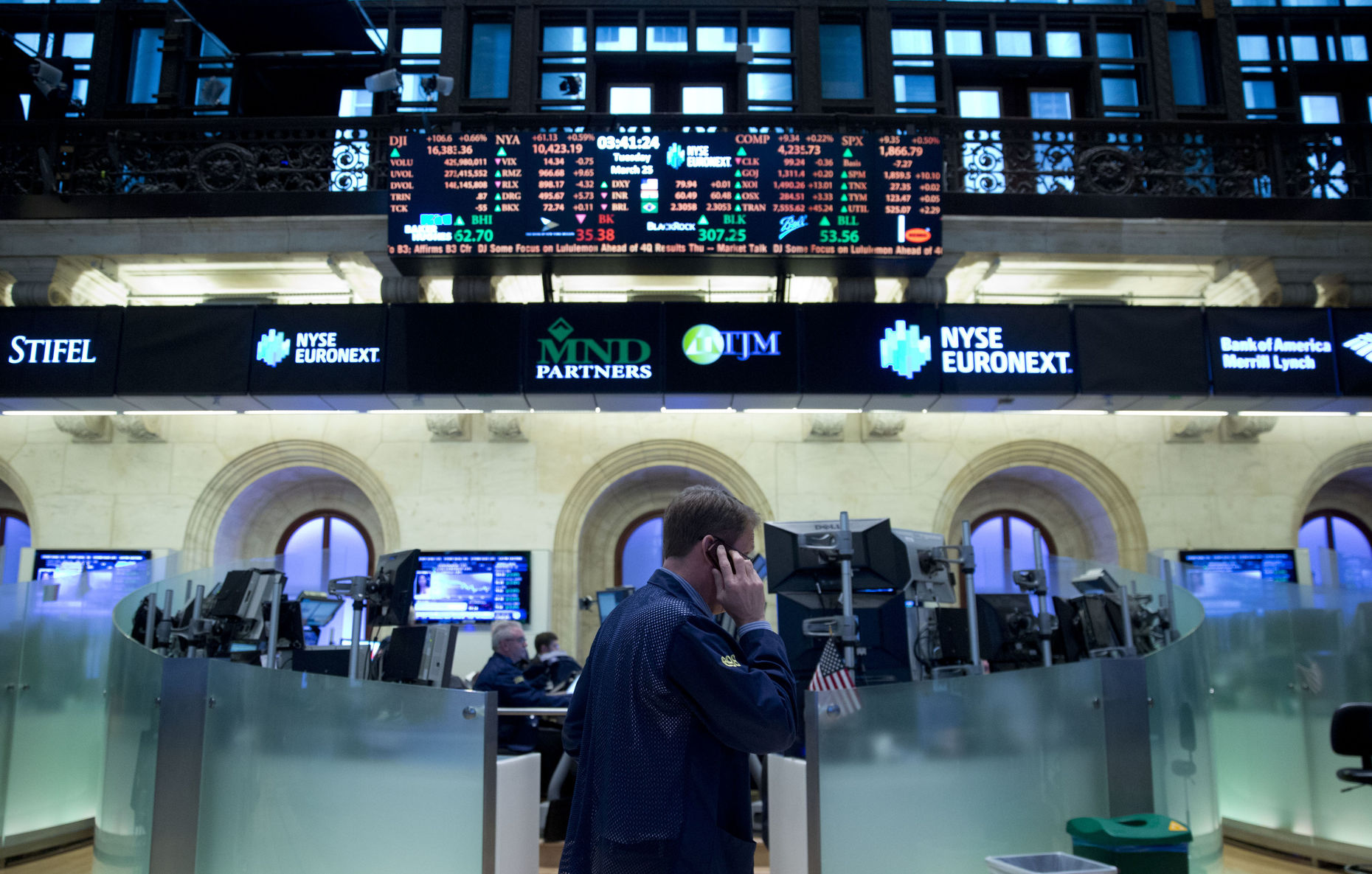 A trader at the New York Stock Exchange. Photo by Bloomberg.