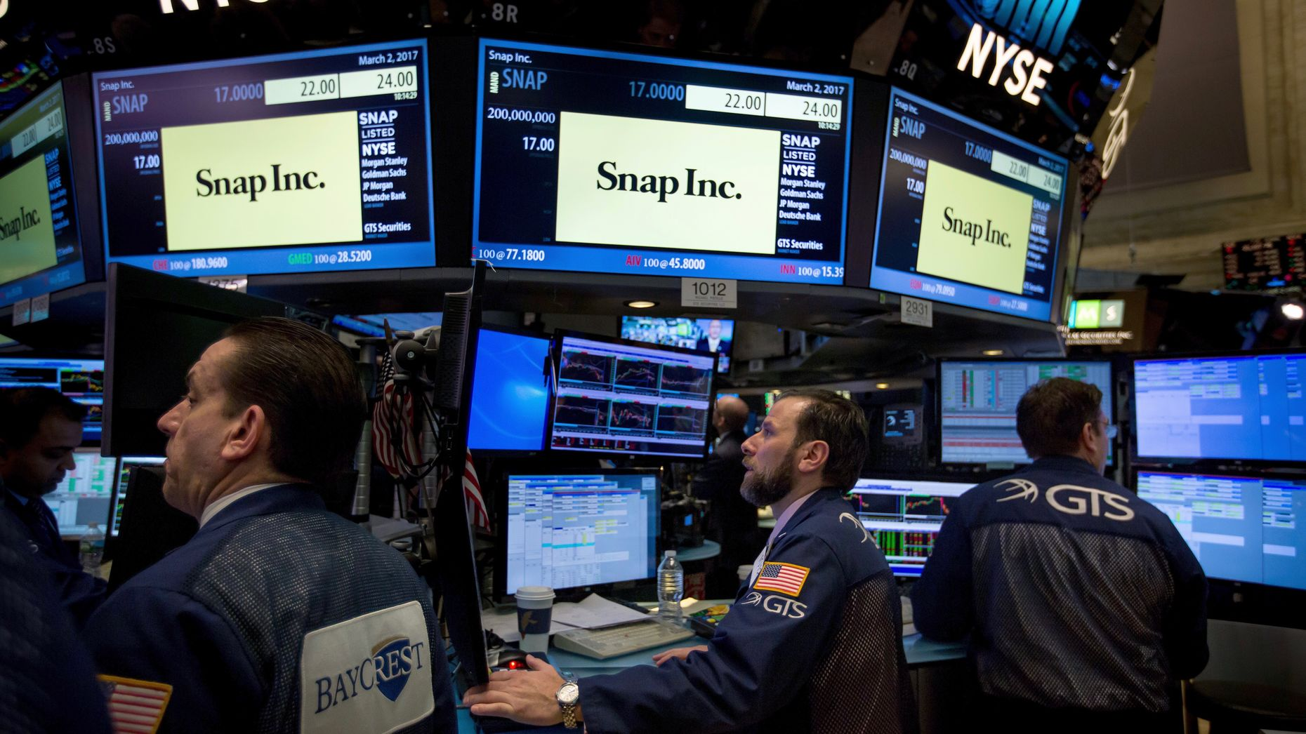 Traders on the floor of the New York Stock Exchange when Snap went public in March. Photo by Bloomberg.