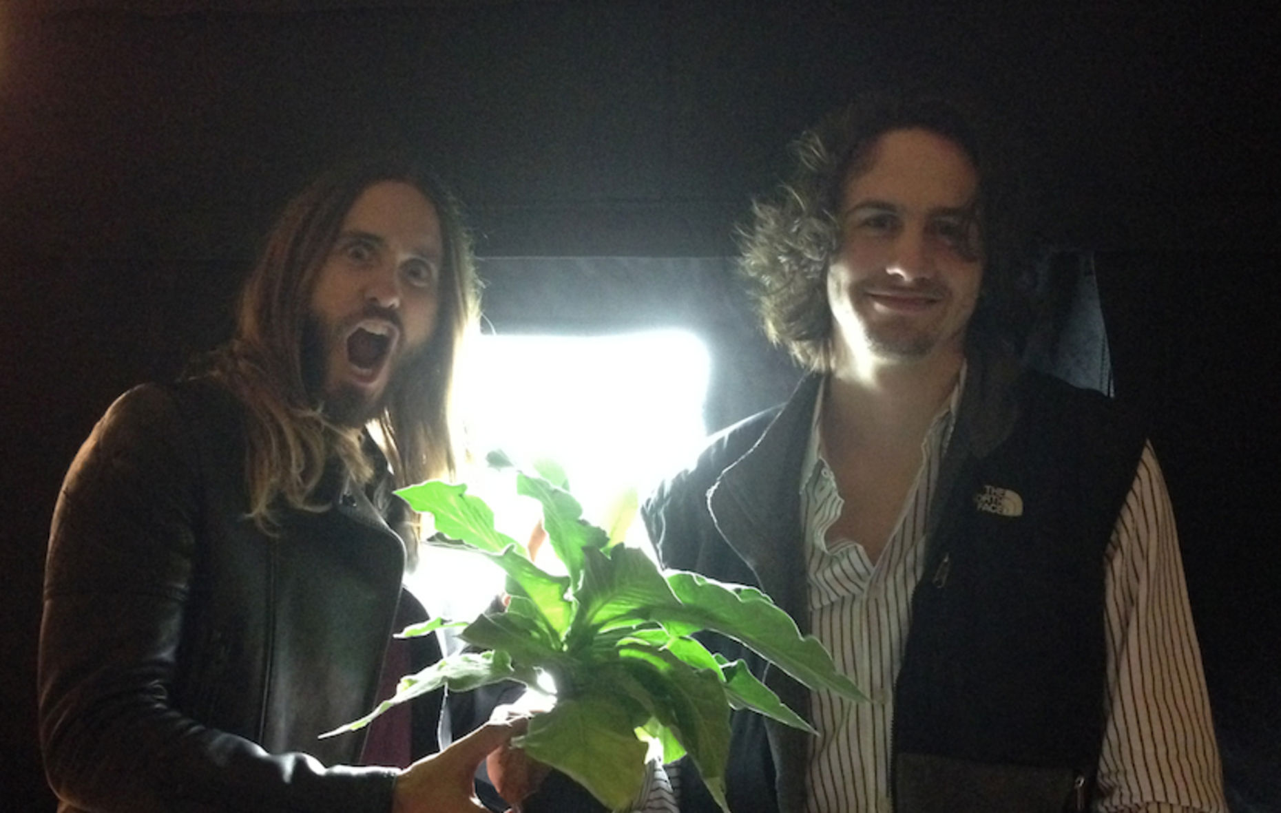 Cambrian Genomics founder Austen Heinz (right) with Jared Leto. Courtesy photo.