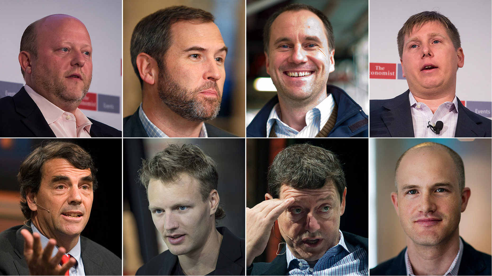 Caption: Clockwise from top left: Jeremy Allaire, Brad Garlinghouse, Albert Wenger, Barry Silbert, Brian Armstrong, Fred Wilson,  Olaf Carson-Wee, Tim Draper