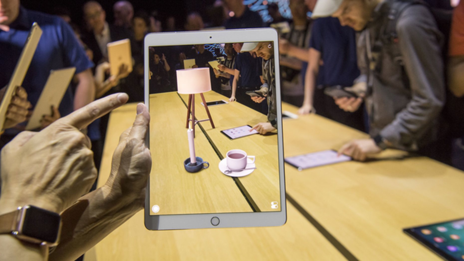 ARKit being demonstrated on an iPad at WWDC in June. Photo by Bloomberg