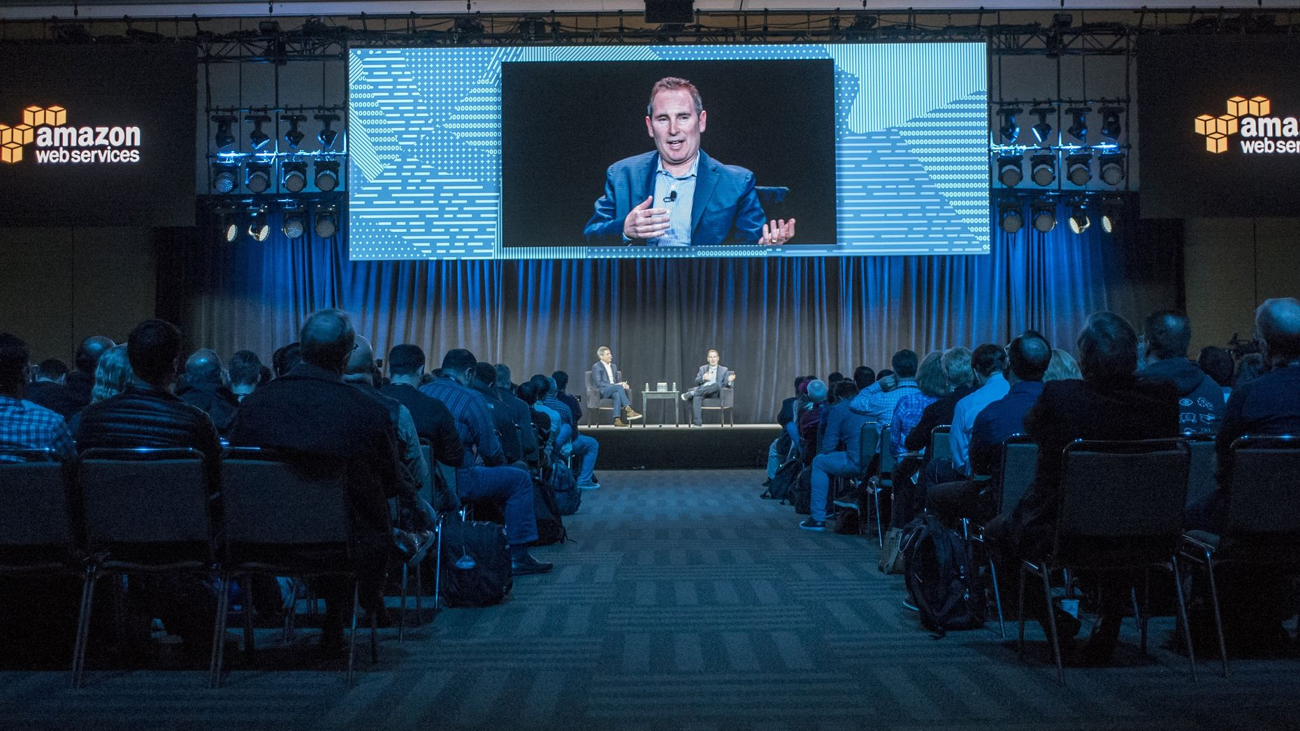 AWS CEO Andy Jassy at an AWS conference in San Francisco in April. Photo by Bloomberg.