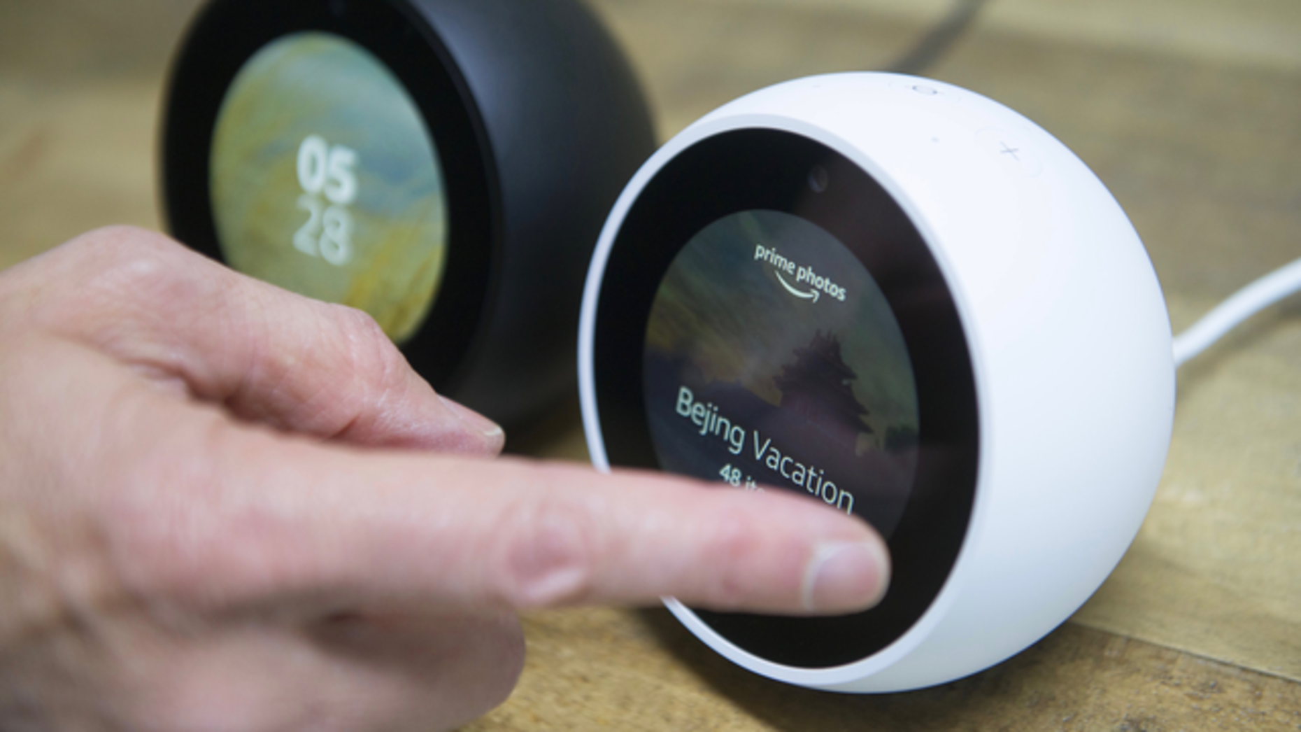 Testing out new Echos announced by Amazon on Wednesday. Photo by Bloomberg.