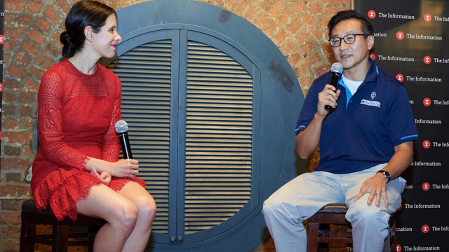 Alibaba Vice Chairman Joe Tsai talking with The Information's Jessica Lessin in Hong Kong on Thursday. Photo by Brent Pottinger.