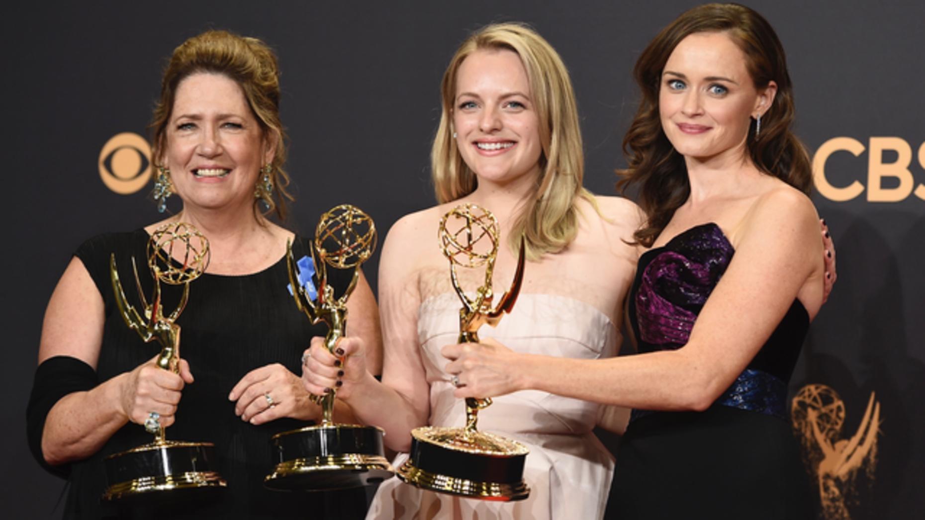 "Stars of Hulu's ""Handmaid's Tale."" Photo by AP."