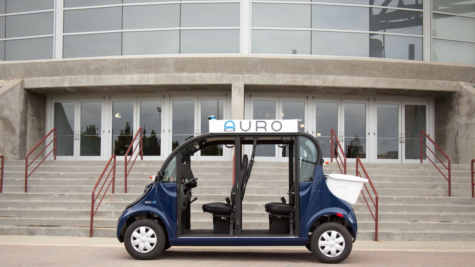 An Auro autonomous shuttle. Photo by Auro