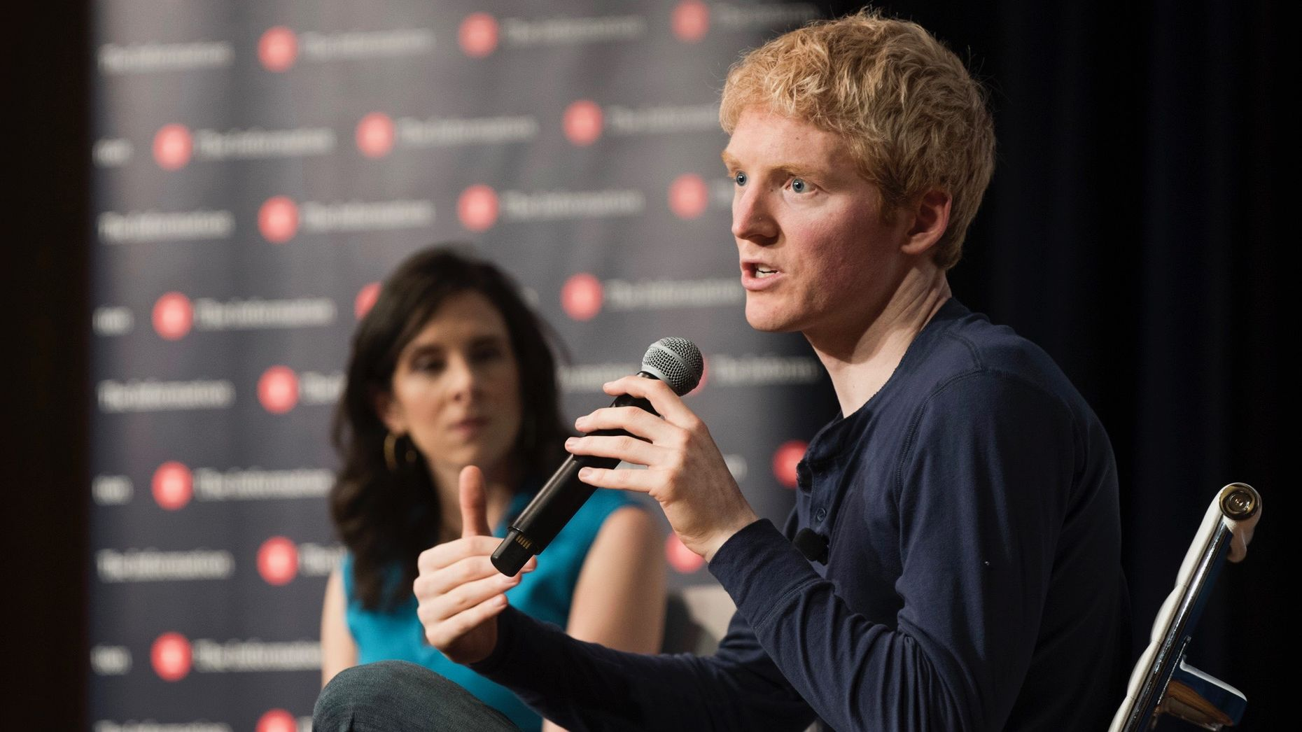 Stripe CEO Patrick Collison talking with The Information's Jessica Lessin on Friday. Photo by Erin Beach.