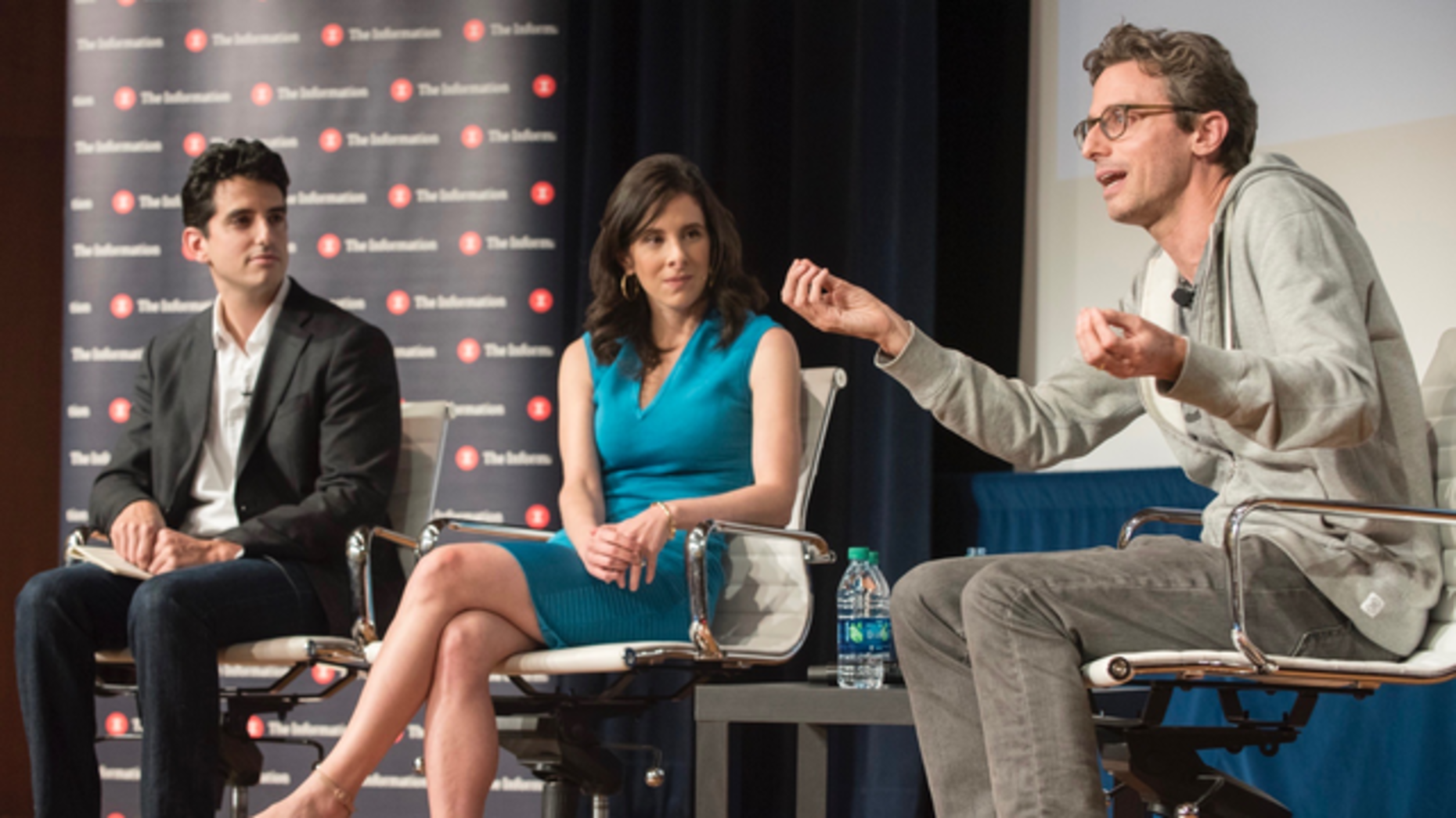 The Information's Tom Dotan (l.), and Jessica Lessin with BuzzFeed CEO Jonah Peretti. Photo by Erin Beach