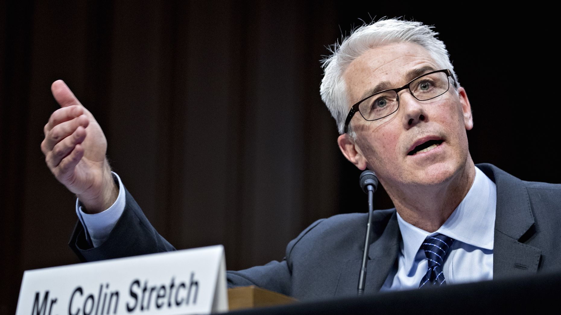 Facebook General Counsel Colin Stretch at Tuesday's Senate hearing. Photo by Bloomberg.