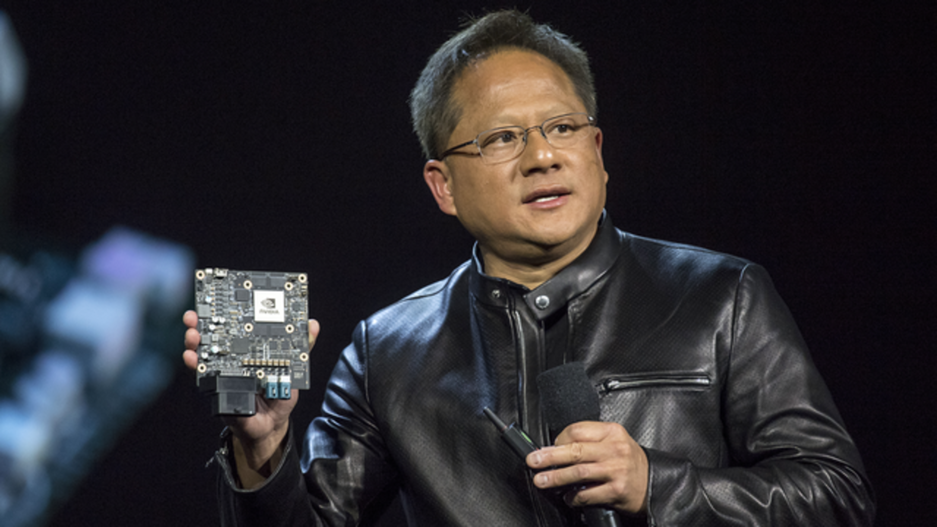 Nvidia CEO Jen-Hsun Huang, speaking at the 2017 Consumer Electronics Show in Las Vegas. Photo: Bloomberg