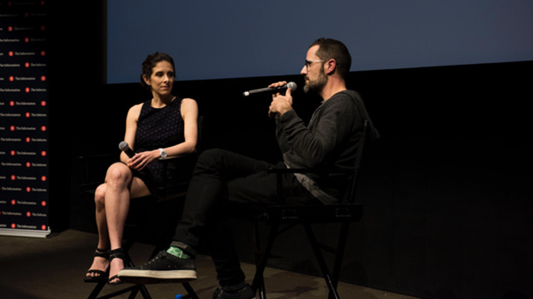 Jessica Lessin interviews Twitter co-founder Ev Williams at The Information's Silicon Valley Meets Hollywood event in Los Angeles. Photo: Angie Silvy