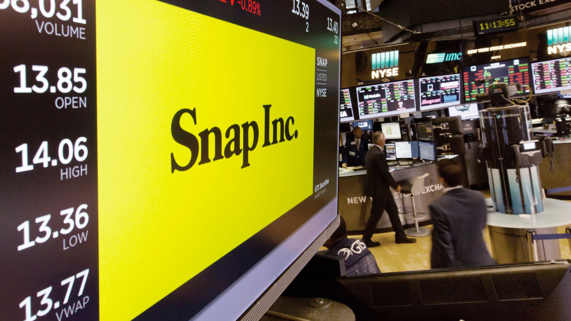 Snap's stock at the New York Stock Exchange. Photo by AP.