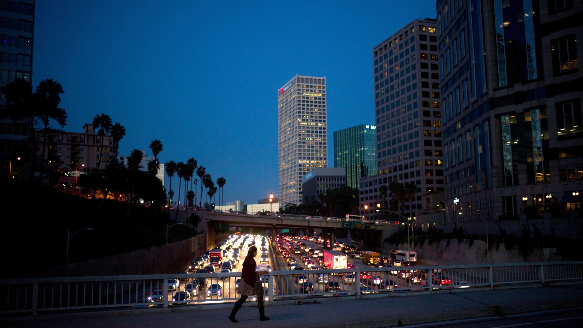 Rush hour traffic on the 110 freeway in Los Angeles. Photo by AP.